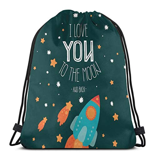 Fuliya Gym Drawstring Bags Backpack,Rocket On The Road Of Space Adventure Cosmic Valentines Couples Universe Theme,Unisex Drawstring Backpack