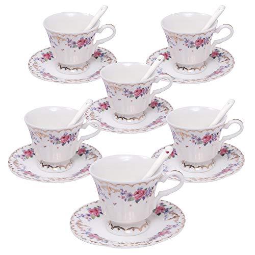 ufengke 4oz Set Tazzine da caffè Floreale, Servizio da tè da caffè in Porcellana, Set di 6 Tazze da tè e Piattino in Ceramica - Motivo Cinese Rosa