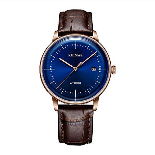 NLRHH Negocio la Correa del Reloj de los Hombres mecánicos del Reloj análogo Ocasional automática con el Reloj de Cuero de los Hombres automática Peng (Color : A)