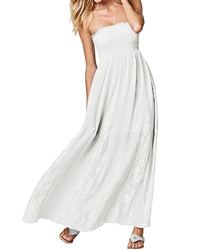 ACHIOOWA Donna Vestito Lungo Slim Abito Maxi Bello Dress Senza Manica Casual Elegante Cocktail Sexy Sera Bianco S