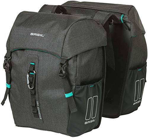 Basil Unisex– Erwachsene Doppelpacktasche-2179234760 Doppelpacktasche, schwarz Melee, 18 L