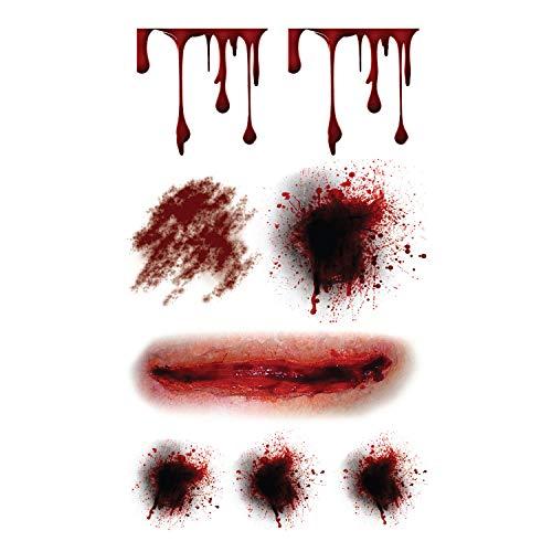 Supperb Temporary Tattoos - Bleeding Wound, Scar Halloween Halloween Tattoos (Set of 2)