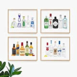 Bar Art Set of 4 | Wall Art | Poster | Art Print | Dorm Room Decor | Made in USA | Gallery Grade | Poster | Vodka | Gin | Whiskey | Tequila | 4 Unframed (8x10)