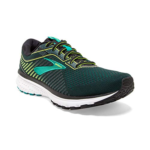 Brooks Mens Ghost 12 Running Shoe - Black/Lime/Blue Grass - D - 11.5