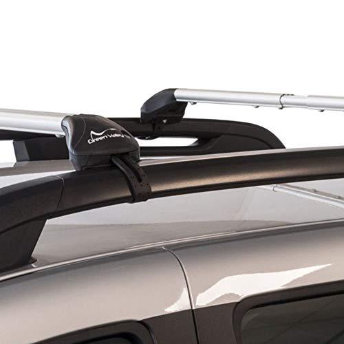 """Green Valley Freeline 6060T6 - Barras de techo de aleación de aluminio con patas premontadas, listas para su uso en vehículos con barras longitudinales de tipo """"estándar"""" (raíles abiertos)"""