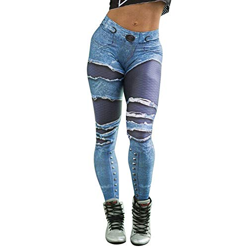 Acutty Hight Waisted Ripped Jeans, Women Skinny Hole Denim Jeans Destroyed Slim Pants Women Skinny Hole Trouser High Waist Denim Jeans Elastic Long Pants Leggings Plus Size