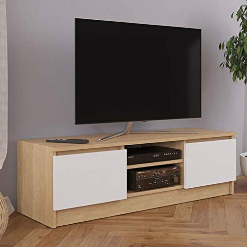 Gr8 Home Wooden Large Modern White Oak TV Cabinet Stand Unit Lowboard Table Furniture with Cupboard HMDSG-1-WHITE & Oak