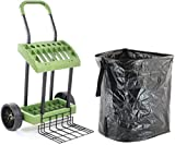 Lawn-Care Tool Box On Wheels with Leaf Collection Bag   Never Flat Tires & 120 Lb. Capacity Lift Plate   Mobile Yard Raking Project Organizer Caddy Cart   Made in USA by Vertex   Model SD590