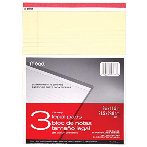 """Mead Legal Pad Writing Pads, Wide Ruled, Great for Use as Home Office Supplies, Memo Pads, Note Pads, or Steno Pads, 8-1/2"""" x 11-3/4"""", 50 Sheets, Letter Writing Canary Paper, 3 Pack (59386),canary yellow"""