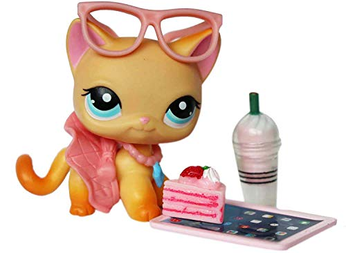 LPS Accessories Lot Laptop Glasses Skirt Collar Cake Food Drink Pink Outfit Set for lps Rare Figures Shorthair Cats and Collie Great Dane Cocker Spaniel Dogs 6 PCS (Cat Not Included)