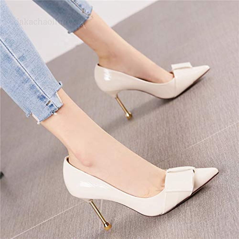 HRCxue Pumps Mode Spitze Stiletto Heels Damenschuhe Lackleder Metall mit sexy Prinzessin Schuhe  | Outlet Store  | New Style  | Schöne Farbe