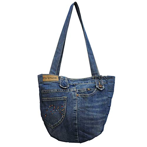wifash Jeans Jeanstasche aus Jeanshosen genäht Umhängetasche Rucksack Schultertasche/Upcycling - aus Alt mach Neu (Shoppertasche 42090)