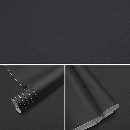 Möbelfolie klebefolie Schwarz 61x500cm Selbstklebende Folie Wasserfest Selbstklebende Tapeten PVC Selbstklebefolie Küchenfolie Dekofolie für Möbel Schrank Tische Wand Folie Tapete