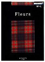 Fleurs(フルール) FZ-1508 プリントタイツ タータンガローレ 日本製 80デニール 50デニール展開 (RE, 80デニール M~L)