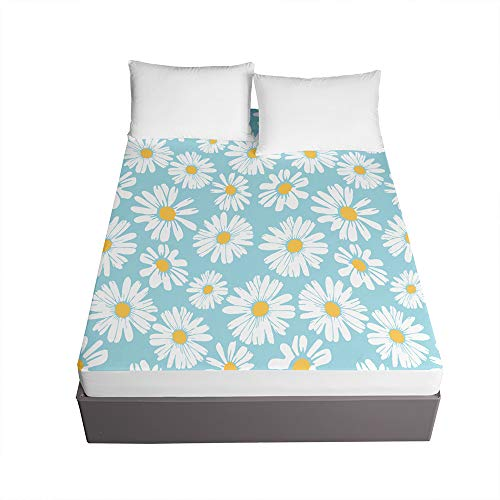 Chickwin Floral Printed Fitted Sheets for Single Double King Bed, 3D Bedding Sheets Deep Pocket 30cm - Soft Microfibre Easy Care Shrinkage Fade Resistant (daisy,150x200x30cm)