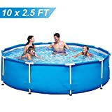 MEARTEVE 10ft x 30in Outdoor Pool Above Ground, Metal Frame Swimming Pool 10 FT Pool for Backyard, Garden Frame Pool for Kids, Family