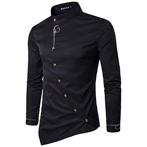 SLYZ Europäische Und Amerikanische Herren Herbst Persönlichkeit Schrägknopf Unregelmäßige Mehrfarbige Trendige Schlanke Hemd Langarm Herrenhemd