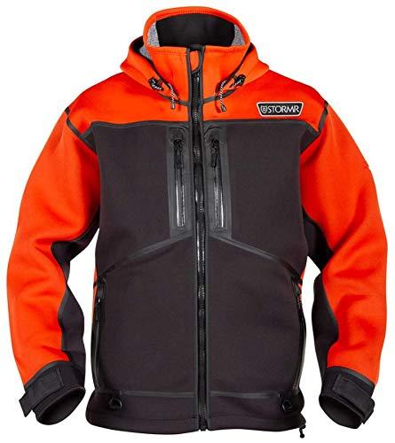 Stormr Strykr Neoprenjacke oder Latzhose - Wind- und wasserdicht mit Niederflor-Stretch-Fleece innen - leicht, warm, bequem, ultra flexibel - thermisch verschweißte Nähte, Sicherheit Orange, XL