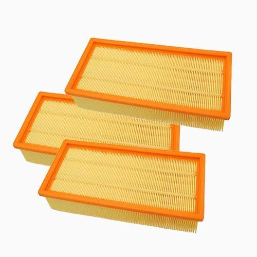 HAYATEC 3x Flachfaltenfilter kompatibel mit Kärcher Mehrzwecksauger WD4 WD5 WD6 MV4 MV5 MV6 Nass-Trocken-Staubsauger Ersatz für 2.863-005.0