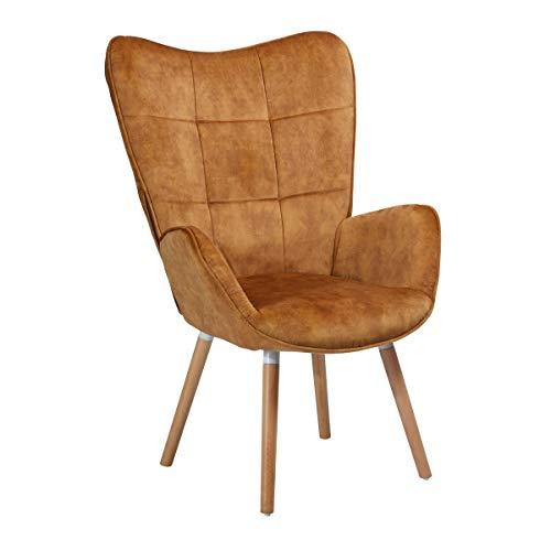 COSY - Grande poltrona in stile scandinavo con rivestimento in tessuto marrone, braccioli imbottiti e piedi in legno massiccio di faggio