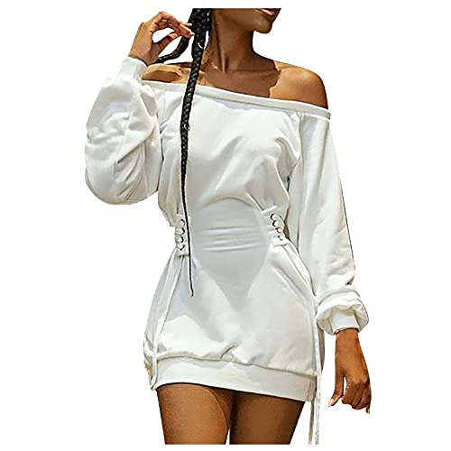 MINEMIN Long Sleeve Dress for Womens Off The Shoulder Ladies Solid Color Tie-Dye Printing Drawstring Mini Dresses