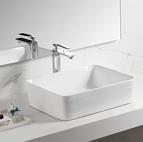 Cheap 19 Inch x 15 Inch Rectangular Vessel Sink, Ceramic Bathroom Sink Rectangular, Above Counter Po...