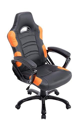 CLP Sedia Gaming Ufficio Ricardo XL In Similpelle I Poltrona Racing Carico Max 150KG I Poltrona Sportiva Regolabile, Colore:nero/arancione