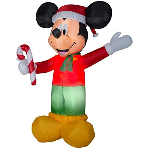 Gemmy Disney 8.99-ft Lighted Christmas Mickey Mouse Holding Candy Cane Inflatable