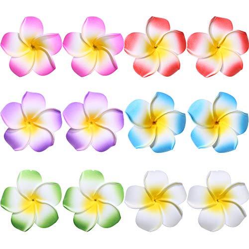 Flower Hair Clips Hawaiian Hawaii Hair Clip Set Plumeria Hibiscus Barrettes Women Girls Baby Foam Wedding Vacation Beach Party Decorations Cosplay Costume Handmade Hair Accessories Plumeria 12 Pack