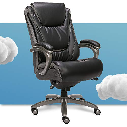 Serta Big and Tall Smart Layers Executive Office Chair with ComfortCoils, Ergonomic Computer Chair with Layered Body Pillows, Black Bonded Leather