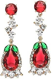 NEVI Stylish Crystals From Swarovski 18K Gold Danglers Earrings Western For Women Girls (Multi Colour)