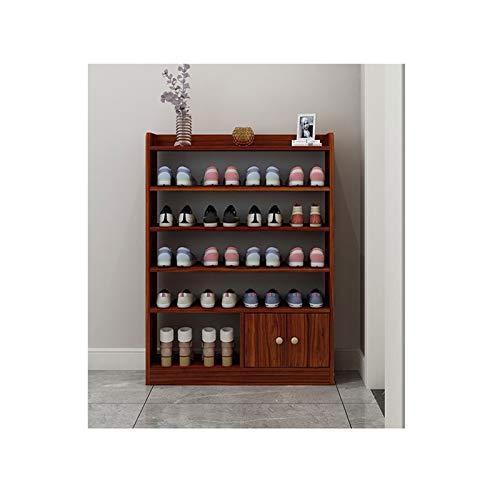 Zapatero de madera para zapatos, organizador de zapatos de gran espacio, para entrada, sala de estar, pasillo (color: rojo, tamaño: 82,4 cm)