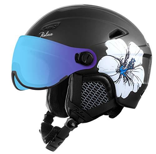 Relax Skihelm Stealth mit Visier | Snowboardhelm | Skihelmet | Race-Helm für Damen und Herren (Schwarz, M (56-58cm))