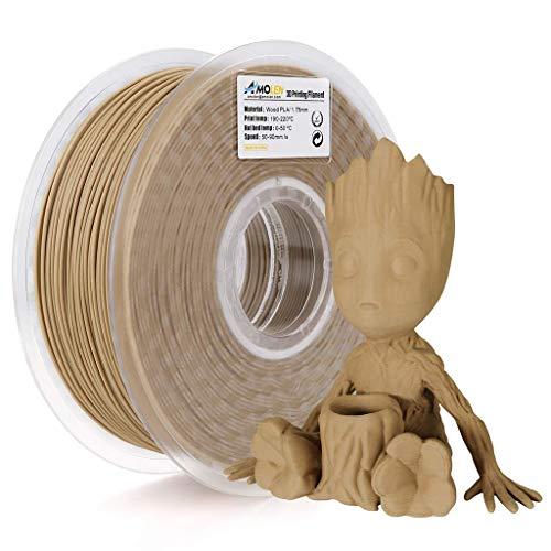 AMOLEN Filamento PLA 1.75mm, Legno Bambù Filamento Stampante 3D, Light Wood Materiali di Stampa 3D Incluso il 20% di Vera Fibra di Legno