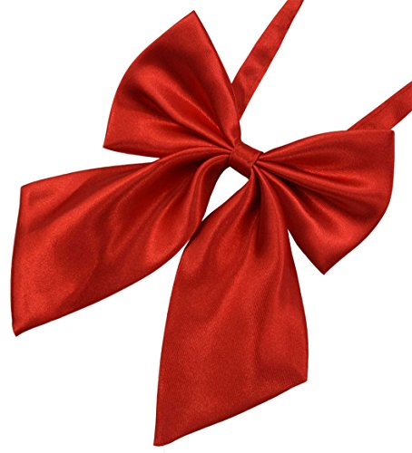 SYAYA Ladies girl Party Adjustable Pre-tied womens Bow Tie Solid Color Bowties for Women ties WLJ06 (red)