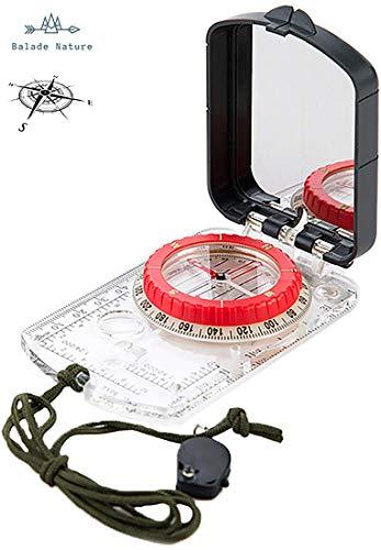 Profi Wanderkompass [Berg & Wald] - Präzision und Zuverlässigkeit - Militär Kompass 2 in 1 Schnell einsetzbar auf Karte und Zielscheibe (Spiegel) Graduierung: Grad – integrierte Lampe – Schutzhülle
