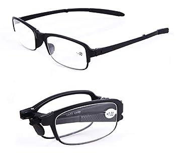 SOOLALA 2 Pairs Black Mini TR90 Folding Reading Glasses with Clip Holder Zipper Case 7 Strengths +1.0D