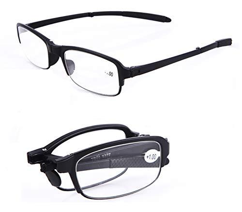 SOOLALA 2 Pairs Black Mini TR90 Folding Reading Glasses with Clip Holder Zipper Case 7 Strengths, +1.0D