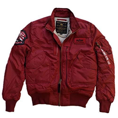 Alpha Industries Flight Jacket Engine Bomberjacke ist eine Bikerjacke aus 2-Tone Nylon mit L-Dokumententasche und gesticktem Lederpatch, Größe:L, Farbe:Commander red
