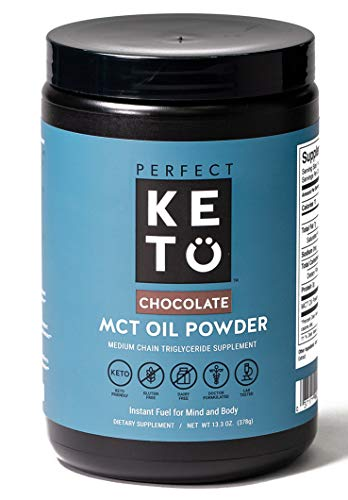 Perfect Keto MCT Oil C8 Powder, Coconut Medium Chain Triglycerides for Pure Clean Energy, Ketogenic Non Dairy Coffee Creamer, Bulk Supplement, Helps Boost Ketones, Chocolate