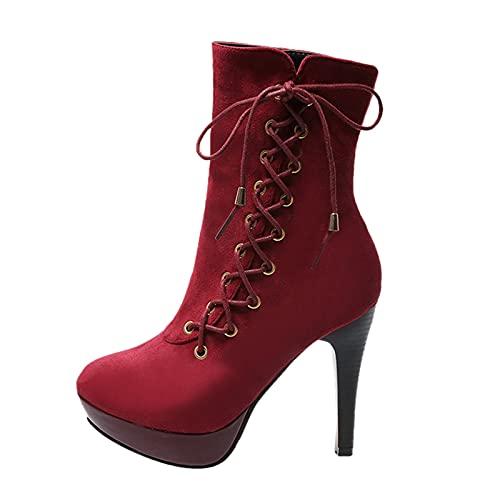 Briskorry Botas de media caña para mujer con plataforma, botas de ante con tacón puntiagudo, botas de nieve con cremallera lateral, estilo retro, para invierno, cómodas