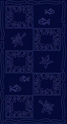 SO MY HOME - Toalla de playa de terciopelo, algodón puro, talla XXL 100 x 200 cm, diseño de tortugas, algodón (Azul marino)