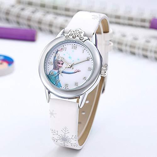 Elsa Reloj Niñas Elsa Princesa Niños Relojes Correa de Cuero Lindo Niños Dibujos Animados Relojes de Pulsera Regalos para Niños Niña Frozen Reloj