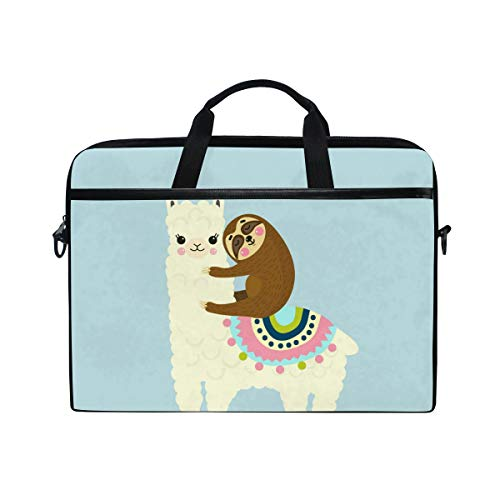 JOYPRINT Laptop Sleeve Case, Cartoon Llama Alpaca Sloth Animal 14-14.5 inch Briefcase Messenger Notebook Computer Bag with Shoulder Strap Handle for Men Women Boy Girls