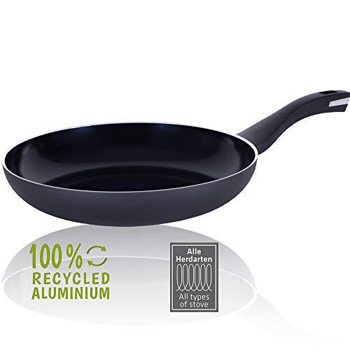 Berndes Pfanne 28 cm, b.Green Alu Recycled Induction, Bratpfanne hergestellt zu 100% aus recycelten Getränkedosen, schwarz