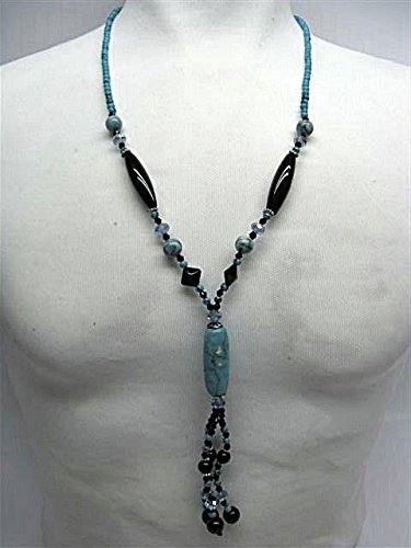 Natural mente – Turquoise, Onyx, collier, env. 65 cm, pierre naturelle, collier, chaîne, turquoise, Onyx, n ° 1021