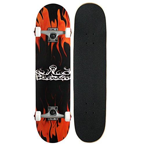 Krown Rookie Complete Skateboard,Red Flame