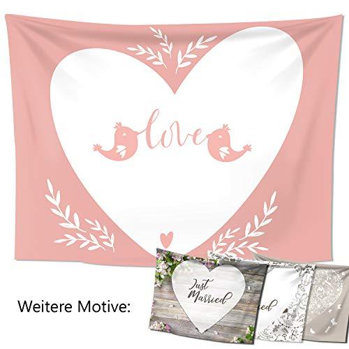 D&D Living Hochzeitslaken – Hochzeitsherz zum Ausschneiden, als Hochzeitsspiel fürs Brautpaar beim Standesamt, Großes Motiv (240x180 cm, Liebesspatzen)