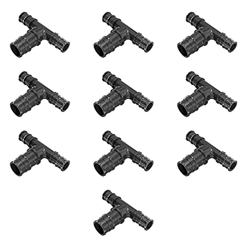 Poly Pex A Expansion 1/2' X 1/2' X 3/4' inch Tees 'T' [10 PCS] Reducing Fittings F-1960,   Lead Free Plastic Fittings for Pex-A Pipe in Plumbing [Pack of 10]