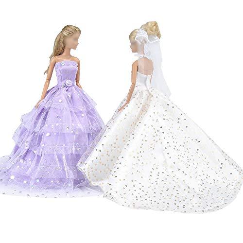 E-TING Hochzeitskleid Cinderella Hochzeit Floral Kleid Spitzenkleid mit Pailletten Abend Party Outfit für Cinderella königlichen Ball und Dornröschen